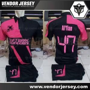 Pembuatan Baju Tim Futsal Berkerah Dengan Font Nameset Digital