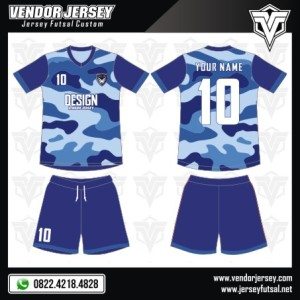 Desain Jersey Futsal Terbaru – Biru Army