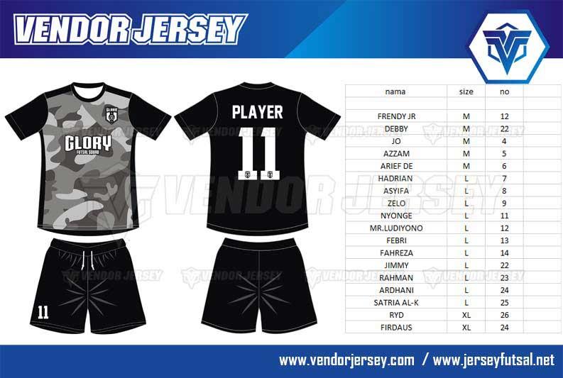 Pembuatan Kostum Tim Futsal Desain Loreng Army