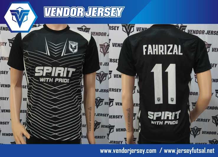 Produksi buat Baju Futsal Warna Hitam Putih Printing