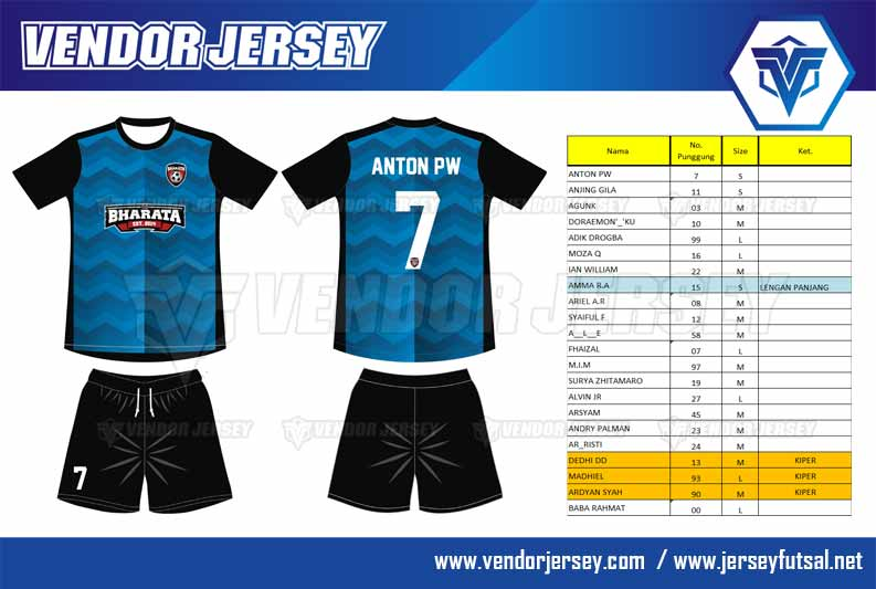 desain Kaos Futsal Dengan Kombinasi Warna Biru Hitam