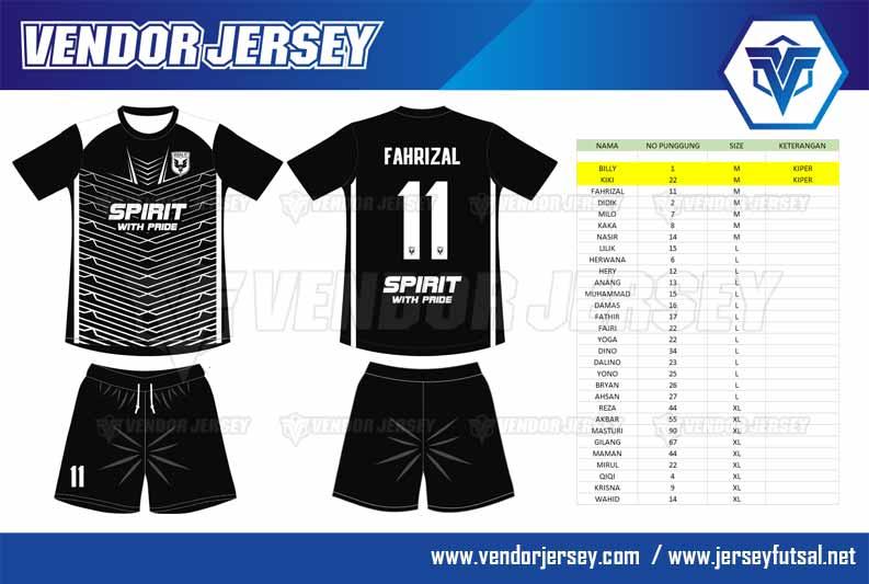 desain baju futsal warna hitam putih