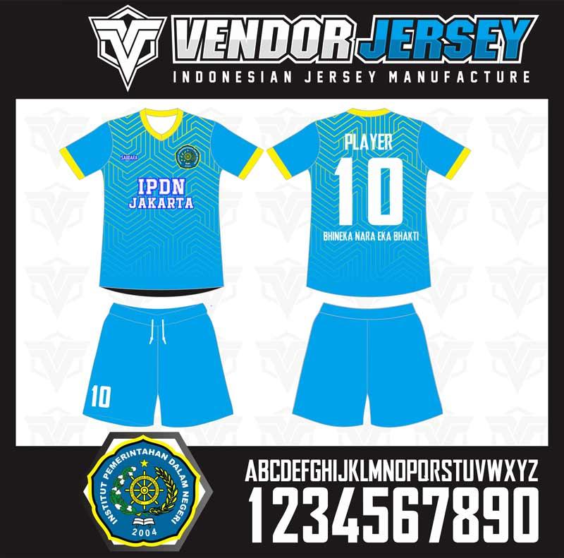 Bikin Baju Futsal IPDN Jakarta Warna BIru List Kuning