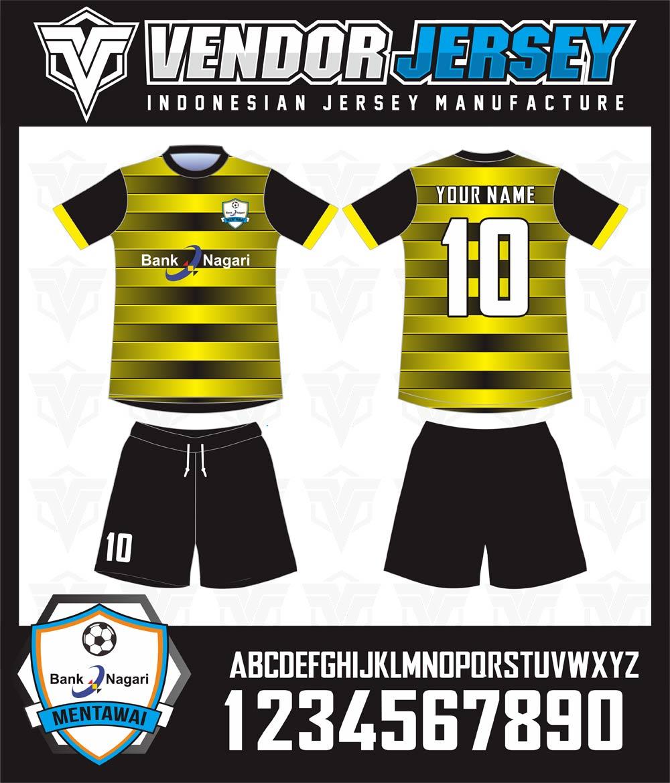Pembuatan Kaos Futsal Bank Dari Mentawai Warna Kuning Gradasi Hitam