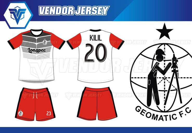Produksi Buat Jersey Geomatic Futsal Dengan Warna Merah Hitam Abu