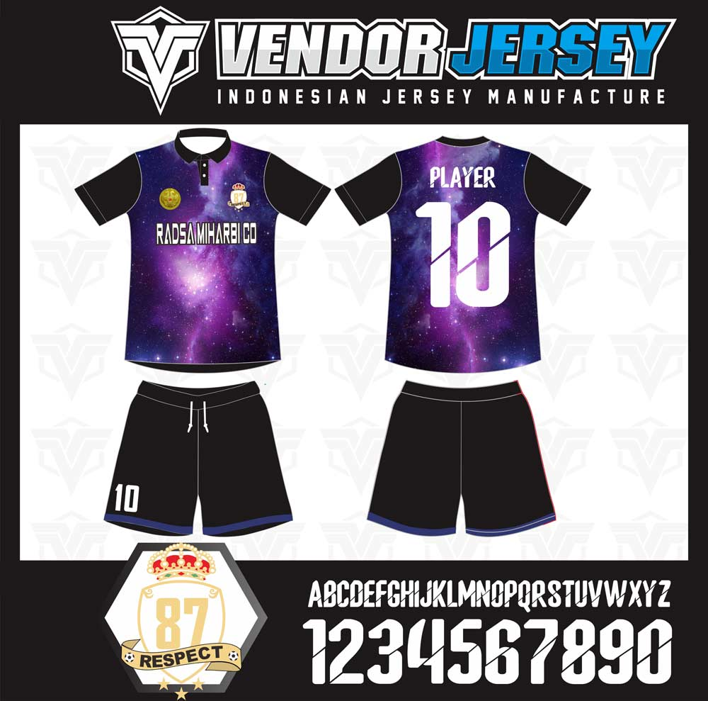 desain Kostum Futsal Motif Galaxi Dengan Logo Bordir