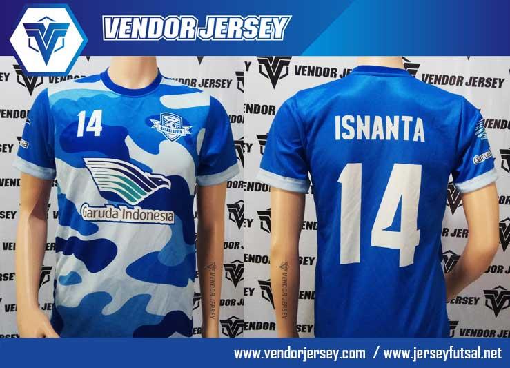 jasa bikin kostum printing untuk tim futsal warna loreng biru