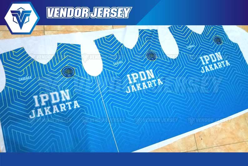 pembuatan Baju Futsal IPDN Jakarta Warna BIru List Kuning