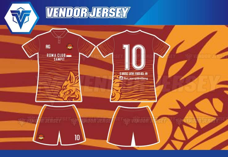 pembuatan kostum futsal Romanisti Fans AS Roma.
