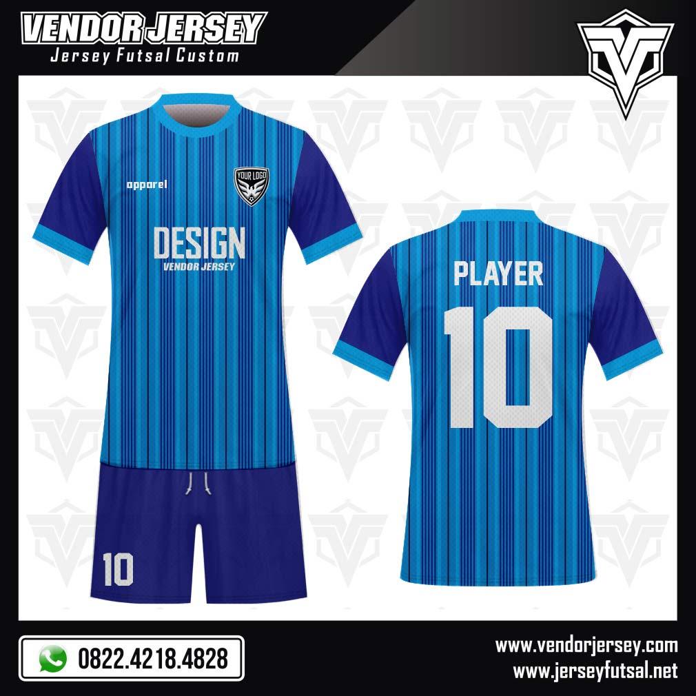 Desain Kaos Bola Futsal Code Bluline Garis Vertikal Biru
