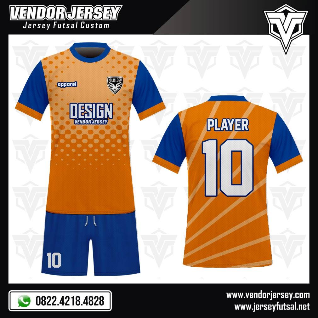 Desain Kaos Bola Futsal Code Blurange Biru Orange Printing