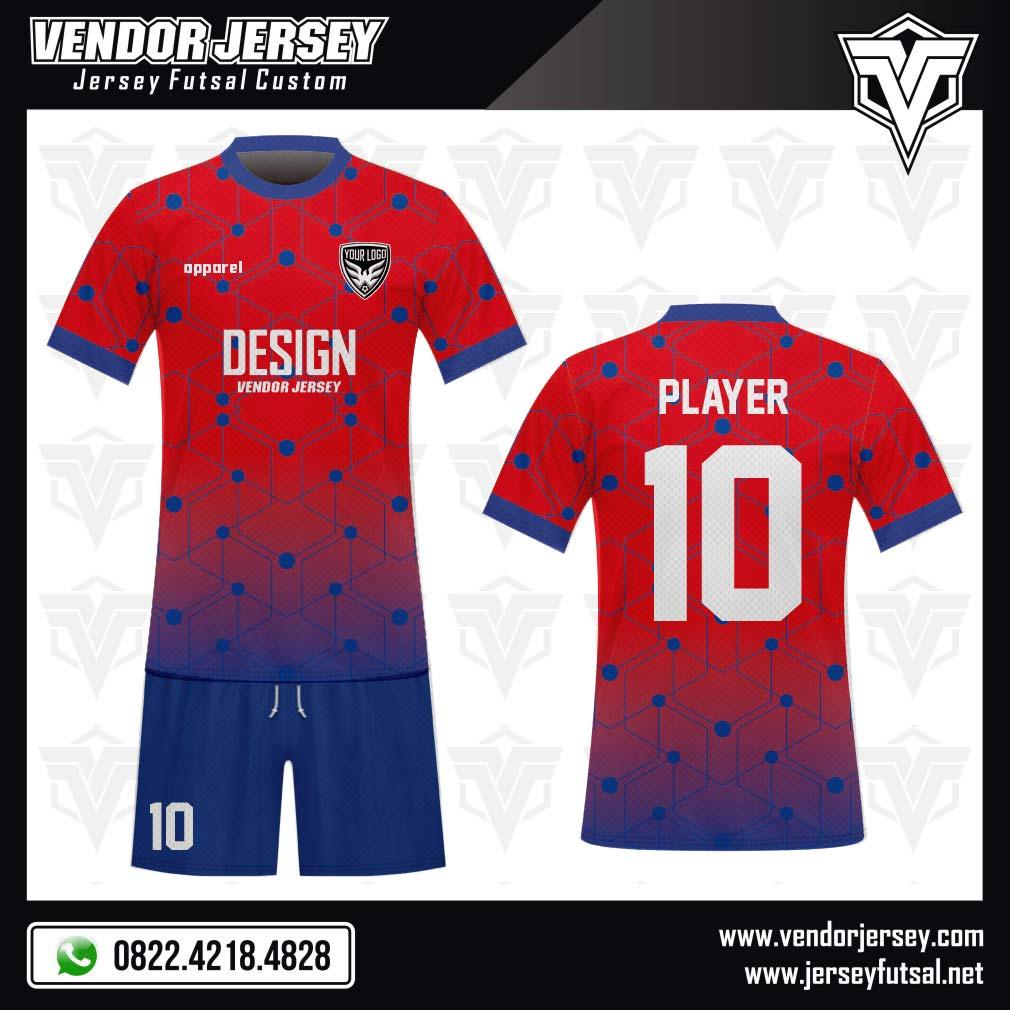 Desain Kaos Sepakbola Code Blured 3 Dimensi Merah Biru