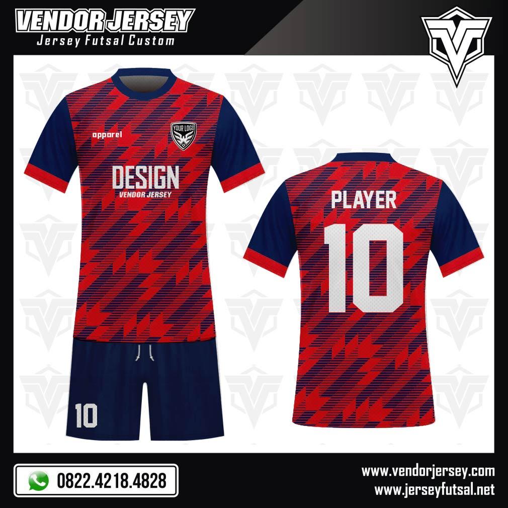 Desain Kaos Sepakbola Code Diadas Motif Zig Zag Merah Biru