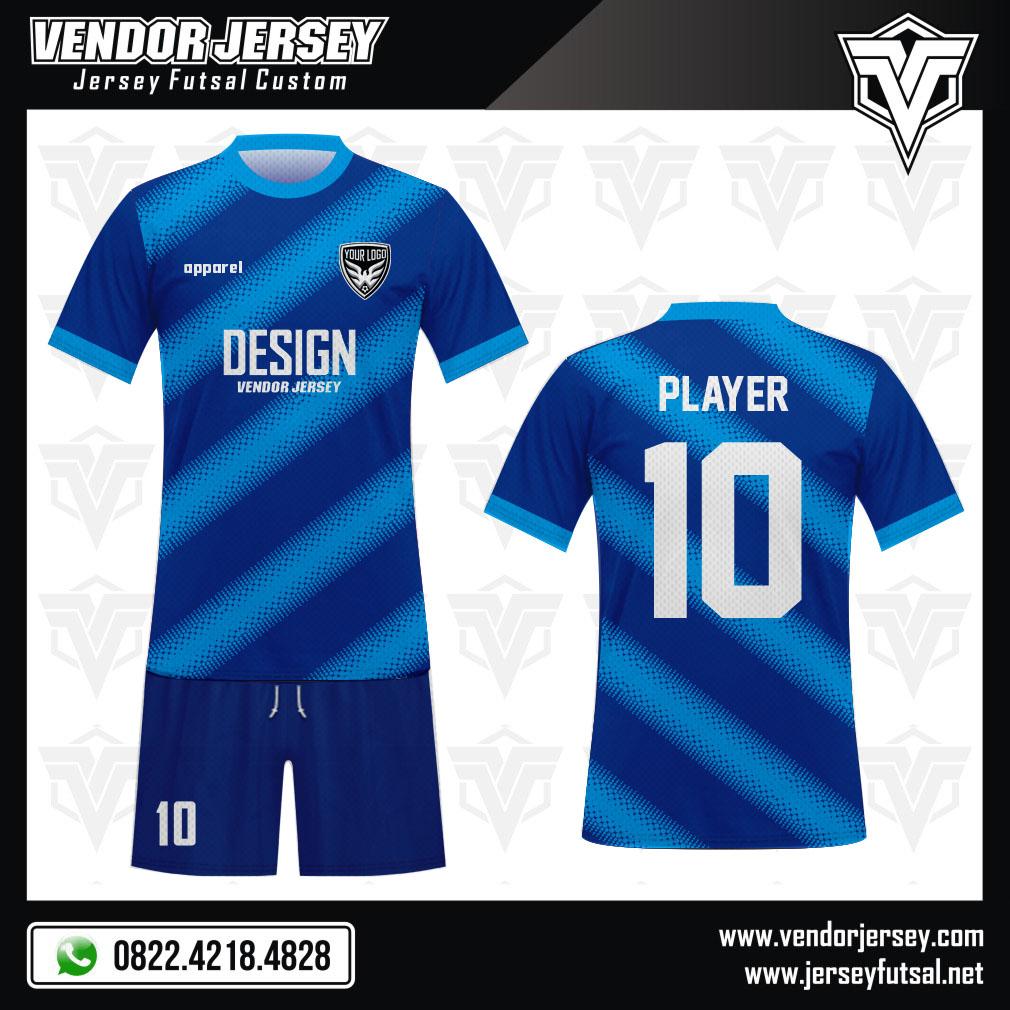 Desain Baju Futsal Code Diagstone Biru Membara