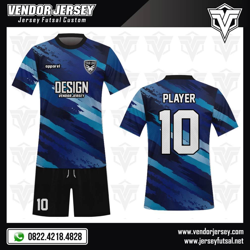 Desain Baju Futsal Code Diagstreet Kombinasi Warna Biru