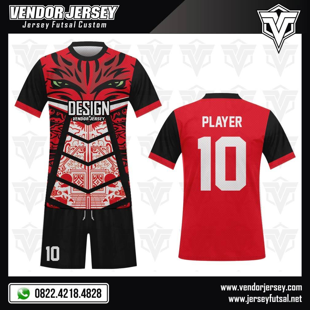 Desain Baju Bola Futsal Code Gaje Merah Hitam Tampil Berani