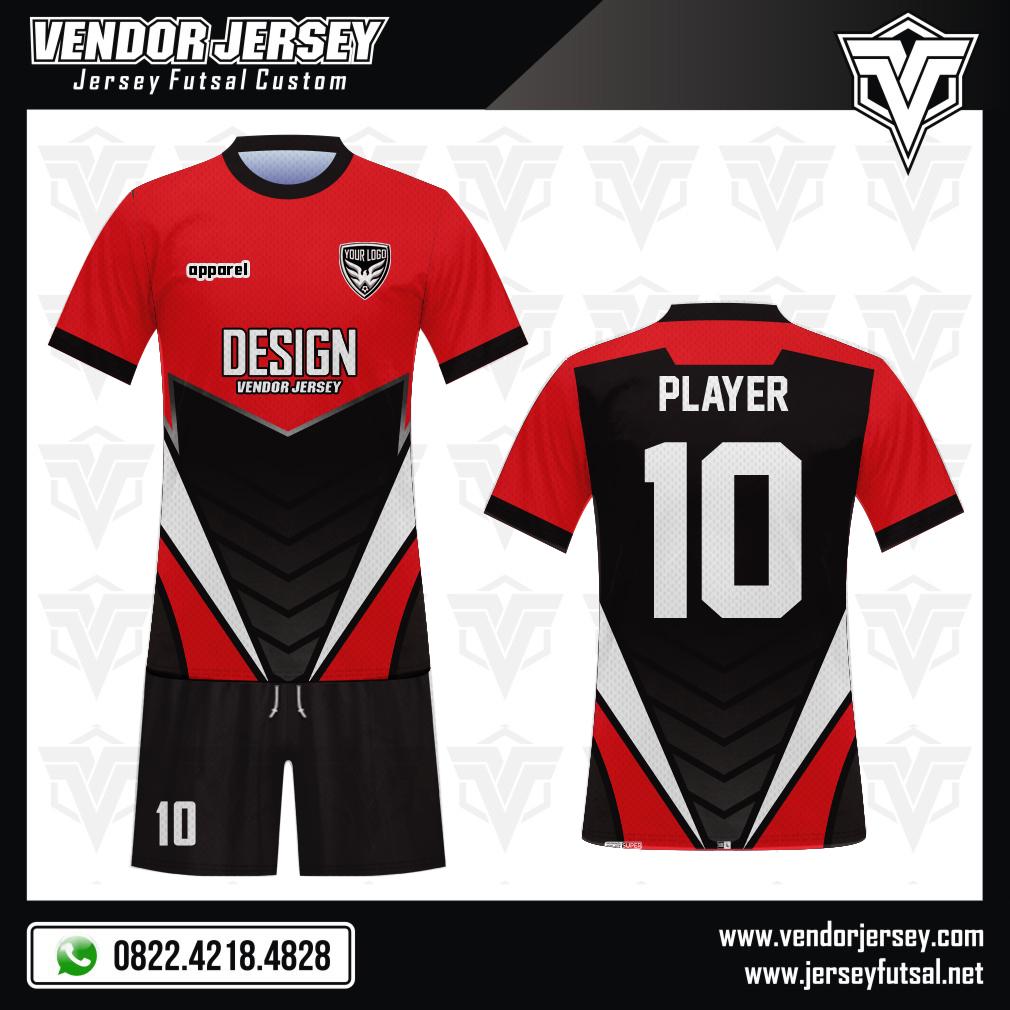 Desain Baju Bola Futsal Code Gameplay Tampil Tampan Dengan Warna Merah Hitam