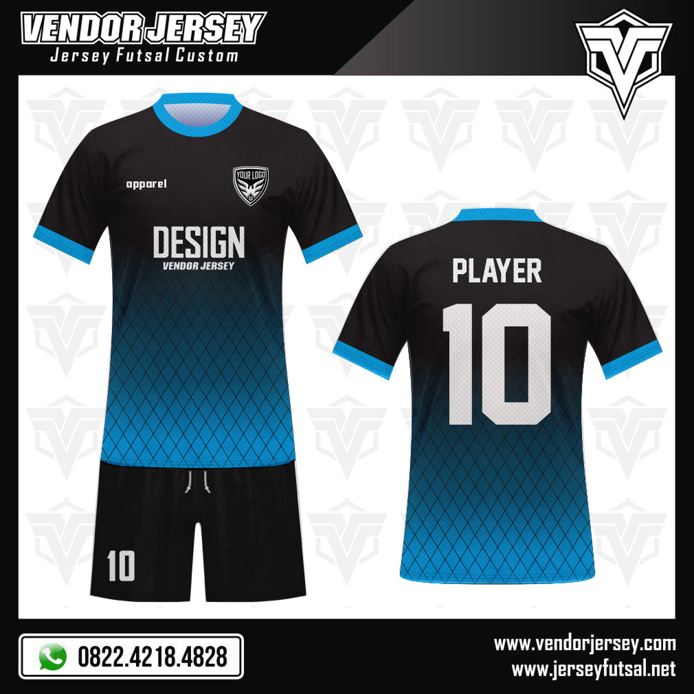 Desain Baju Sepakbola Code Gonersblu Gradasi Biru Hitam