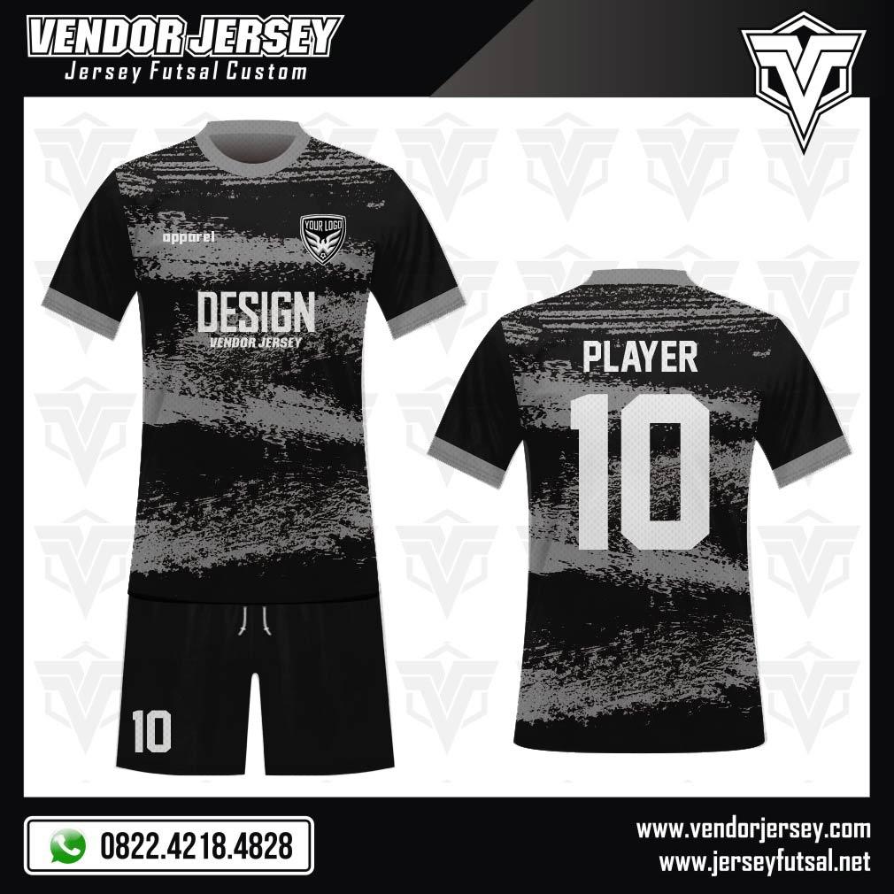 Desain Jersey Futsal Code Greystret Gradasi Warna Abu-abu di Atas Warna Hitam