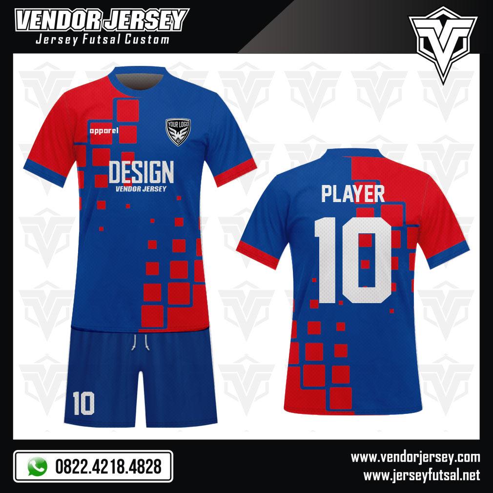 Desain Jersey Futsal Code Gril Kombinasi Dua Warna Biru Merah Simple
