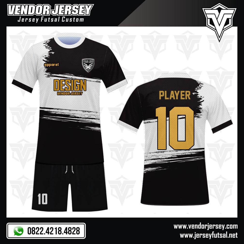 Desain Jersey Futsal Code Grond Warna Hitam Putih