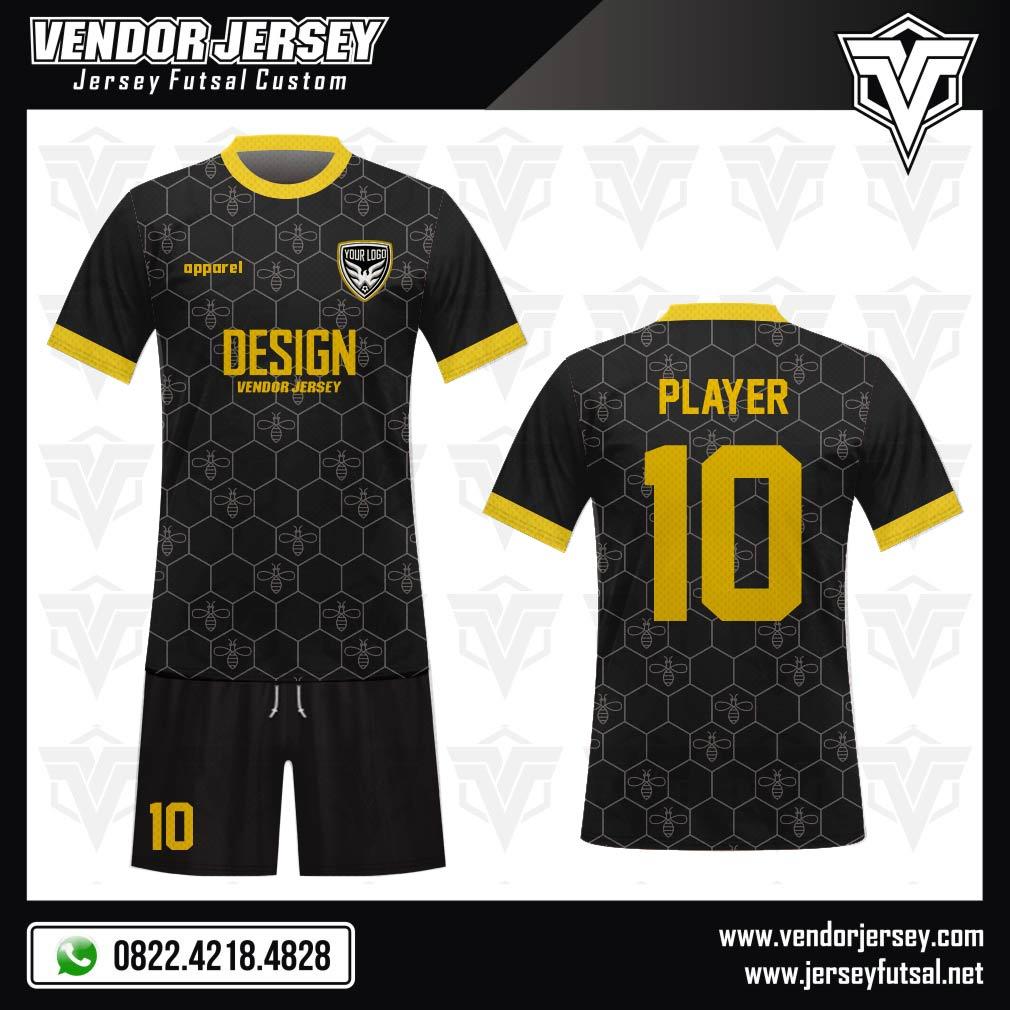 Desain Jersey Futsal Code Hexabee Motif Segienam Gambar Lebah