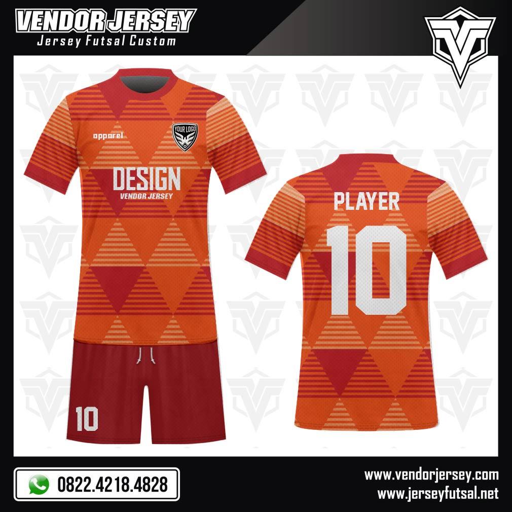 Desain Jersey Sepakbola Code Marunye Tiga Dimensi Merah Orange