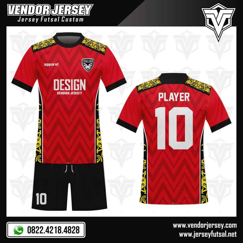 Desain Jersey Sepakbola Code Motif Batik Kalimantan Kombinasi Merah Kuning Hitam