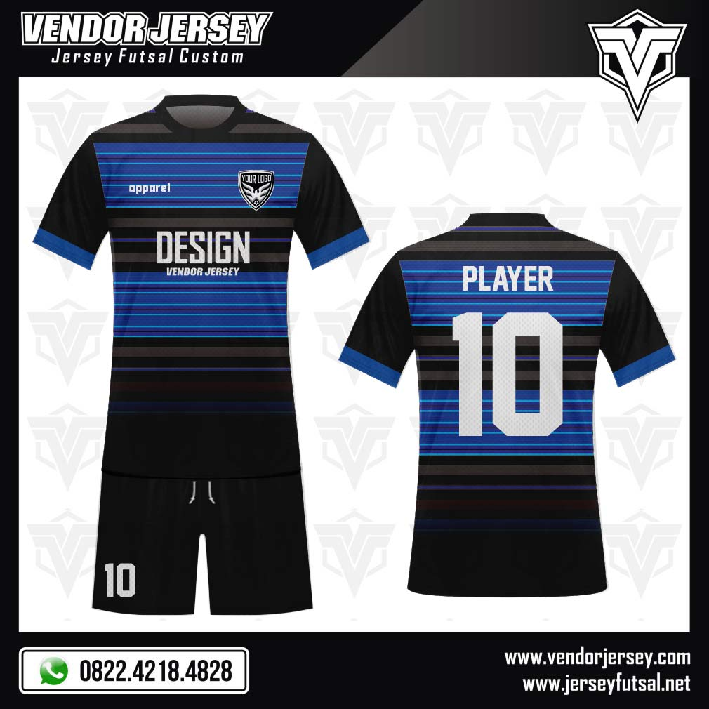 Desain Jersey Sepakbola Code Nerazurra Motif Garis Hitam Biru