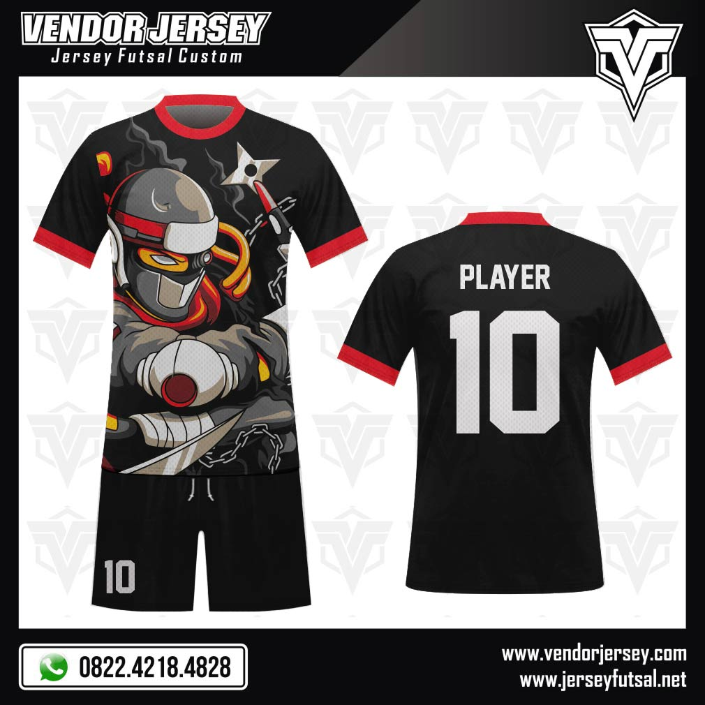 Desain Kostum Futsal Gambar Ninja Full Print