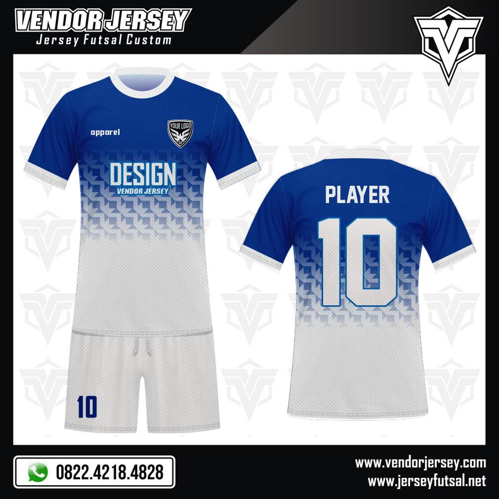 Desain Kostum Bola Futsal Code Radeon Warna Biru Putih Gradasi