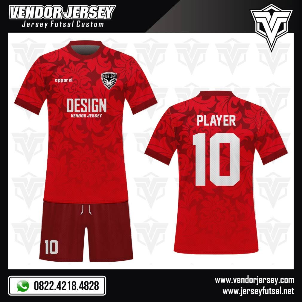 Desain Kostum Bola Futsal Code Redfloral Warna Merah Menyala Gambar Bunga