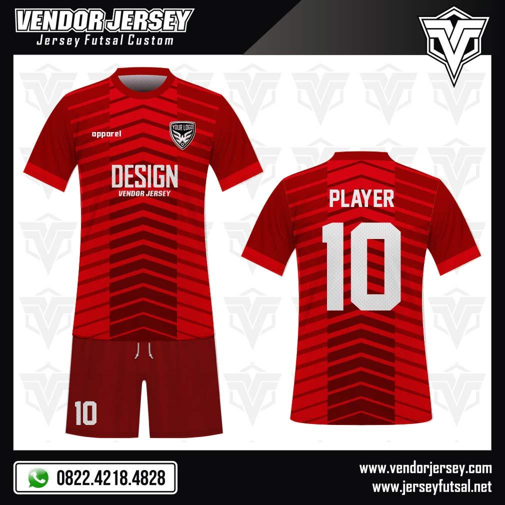 Desain Kostum Bola Futsal Code Redraw Full Printing Merah