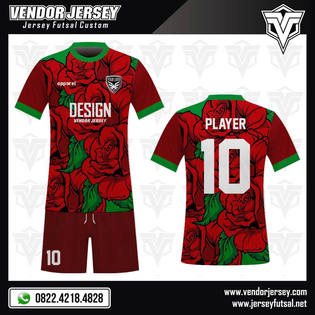 Desain Kostum Sepakbola Code Redrose Motif Mawar Merah