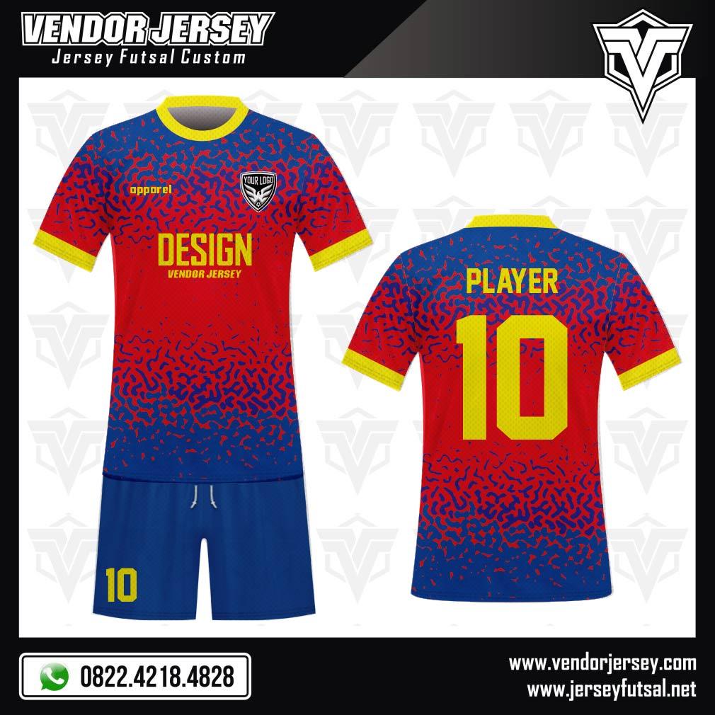 Desain Kostum Sepakbola Code Rossoblu Full Print Biru Merah