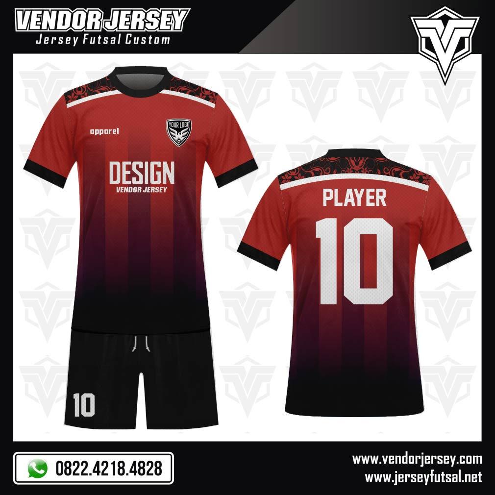 Desain Seragam Futsal Code Shouldered Merah Hitam Yang Eksotis