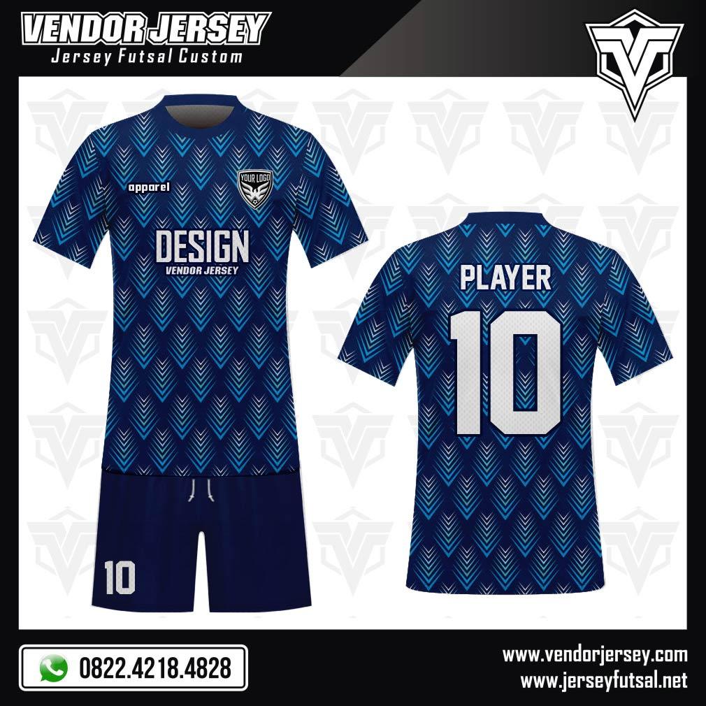 Desain Seragam Sepakbola Code Squama Warna Biru 3 Dimensi