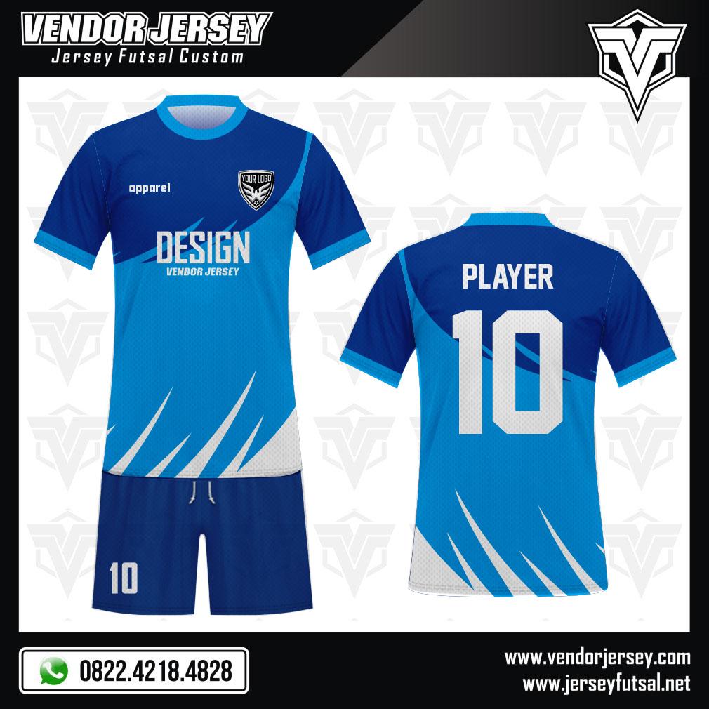 Desain Baju Bola Futsal Code Wingss dengan Warna Biru yang Memikat
