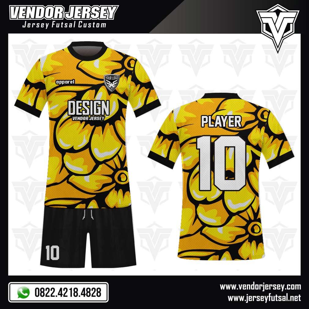 YELLOFLOWDesain Baju Futsal Code Yelloflow Si Kuning Gambar Bunga