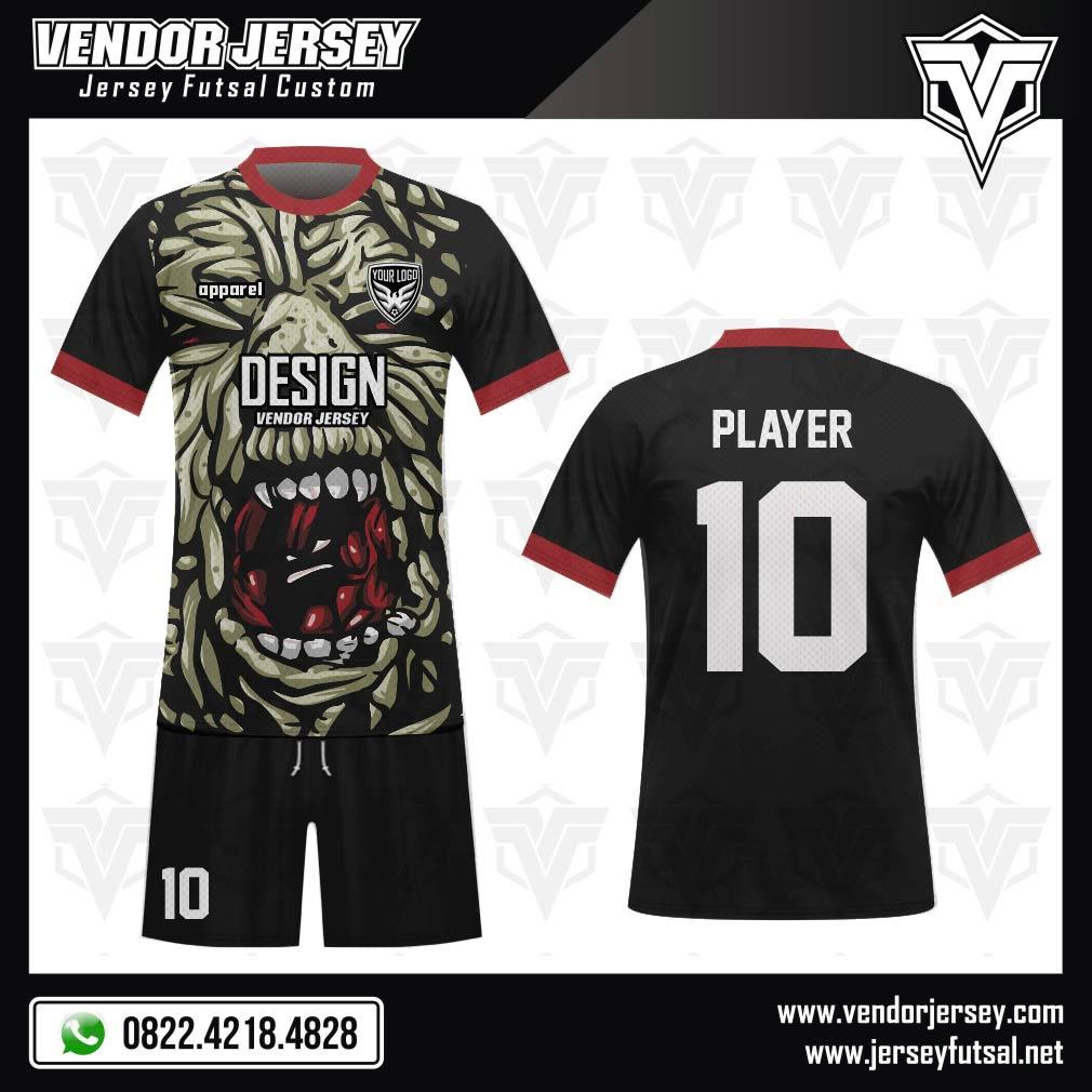 Desain Jersey Sepakbola Code MONS1 dengan Gambar Monster