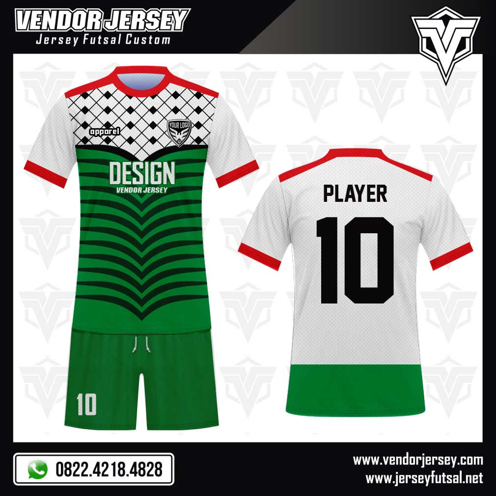 Desain Kaos Futsal Code Pale Warna Khas Palestina hijau putih