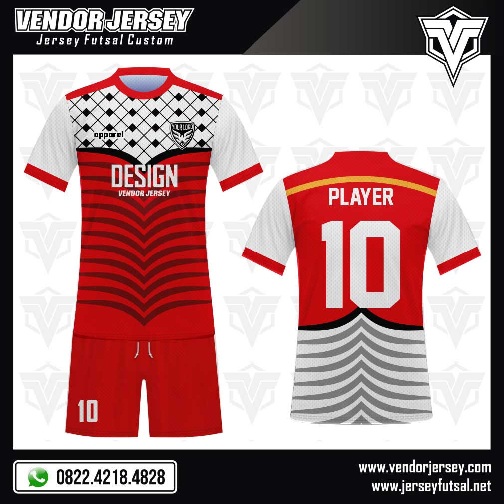Desain Kaos Futsal Code Pale Warna Khas Palestina merah putih