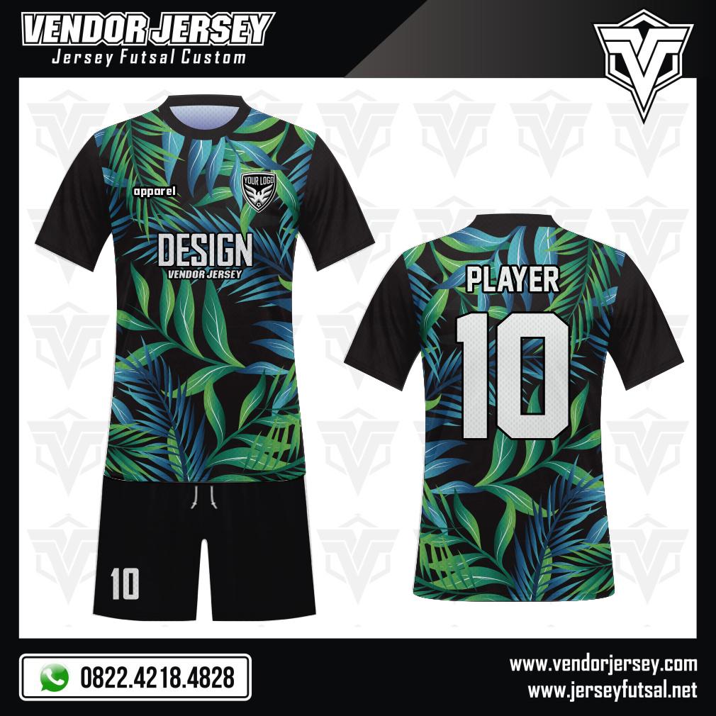 Desain Kaos Futsal Code Tropical Motif Dedaunan Yang Elok hijau hitam biru