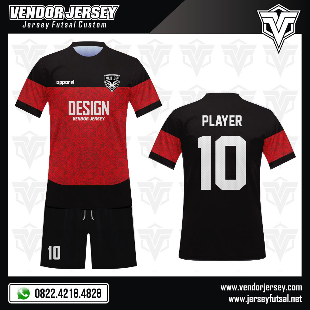 Desain Kostum Bola Futsal Code Redpuma Hitam Merah Kombinasi Full Print