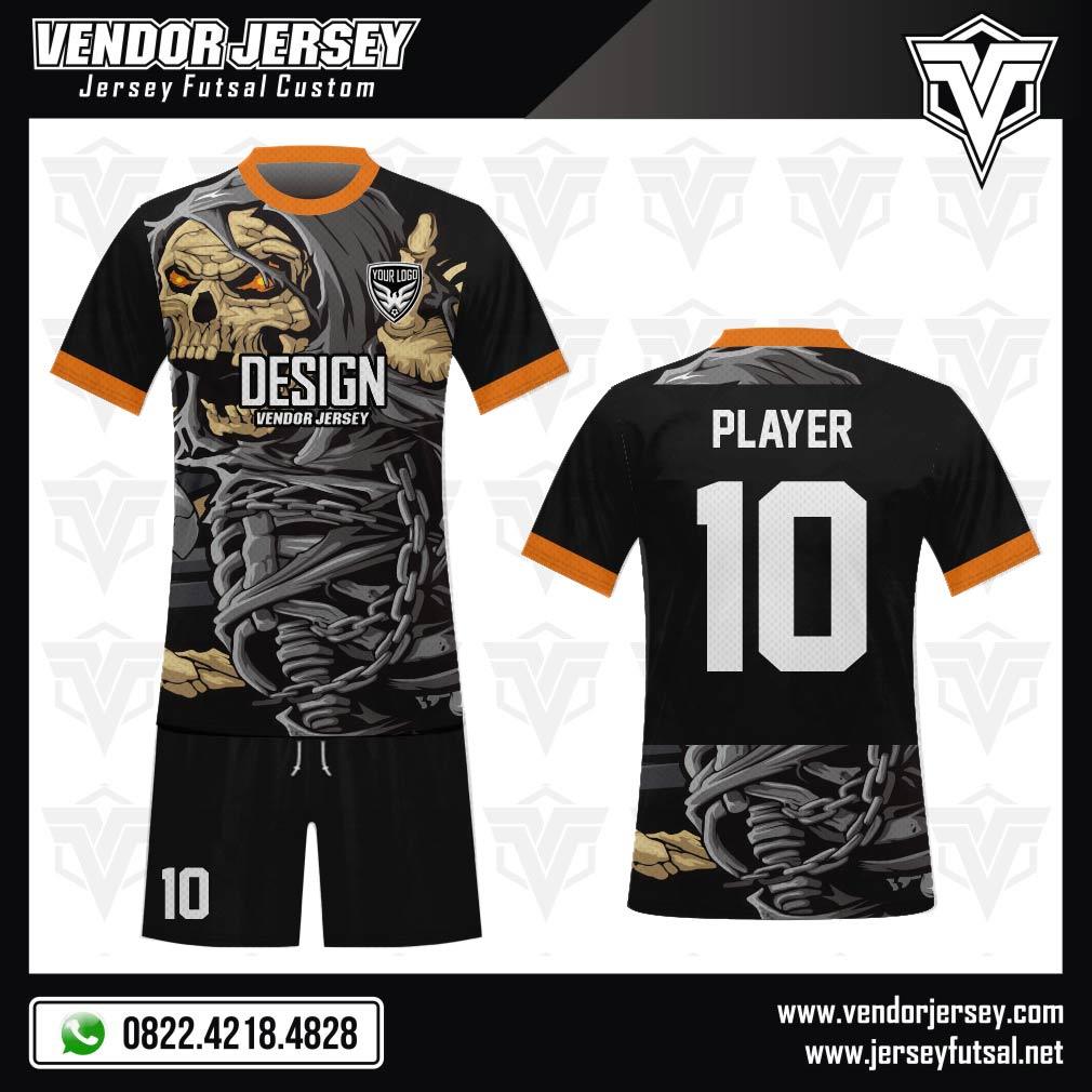 Desain Seragam Futsal Code Skull-Attack Gambar Tengkorak Ganas