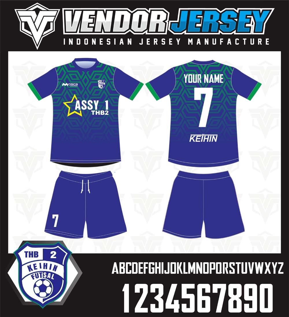 pembuatan Kaos Bola Futsal gradasi biru