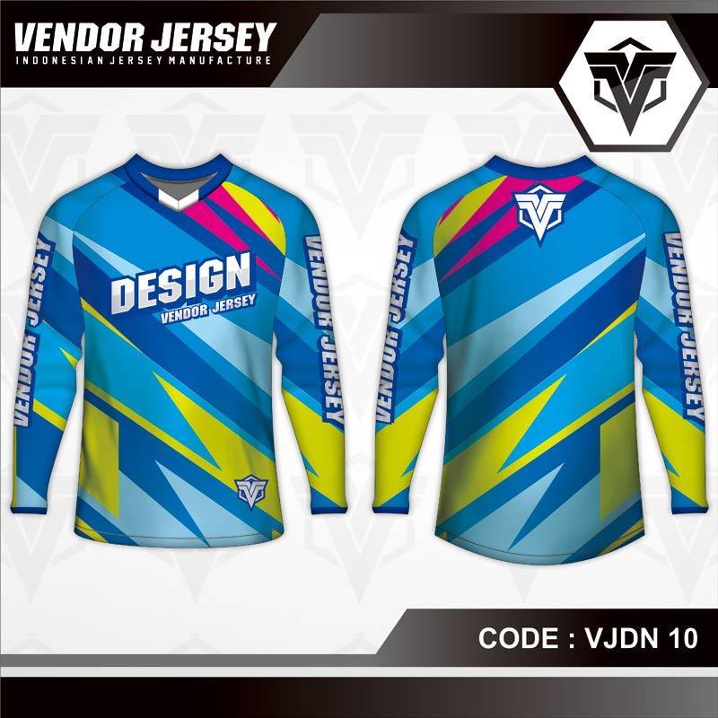 Desain Baju Sepeda Printing Warna Biru Kuning Motif Zig Zag Yang Trendy