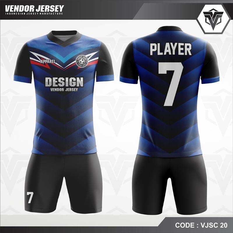 Desain Baju Futsal Printing Warna Biru Hitam Terkeren