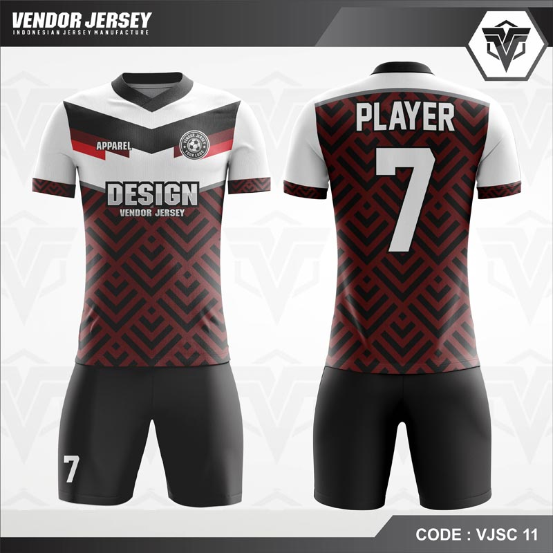 Desain Baju Futsal Printing Warna Coklat Putih Hitam Yang Elegan
