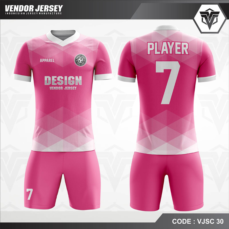 Desain Baju Futsal Printing Warna Pink Ceria
